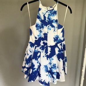 LF blue white tie dye fit and flare romper NWT